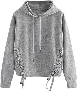 Hemlock Sport Pullover Sweater Top, Women Girl Drawstring Hoodie Sweatshirt Jumper Coat (S, Grey-4)