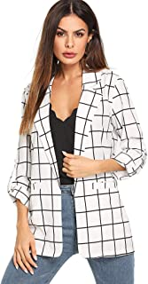 Milumia Women`s Open Front Blazer Shirt Casual Plaid Roll Up Sleeve Jacket with Pocket