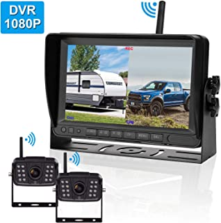 FHD 1080P Digital Wireless 2 Backup Camera for RVs/Trailers/Trucks/Motorhomes/5th Wheels 7''Monitor with DVR Highway Monitoring System IP69K Waterproof Super Night Vision