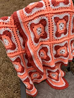 Handmade Curvy Granny Square Afghan Blanket Throw