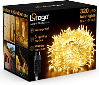 Guirlande Lumineuse 32M 320 LED, Litogo Guirlande LED Blanc Chaud Fil de Cuivre Étanche IP65 avec Adapteur Alimentation Ch...