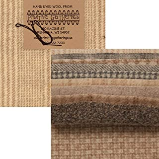 Primitive Gatherings Hand Dyed Wool Sheep Charm Pack 10 5-inch Squares PRI 6001