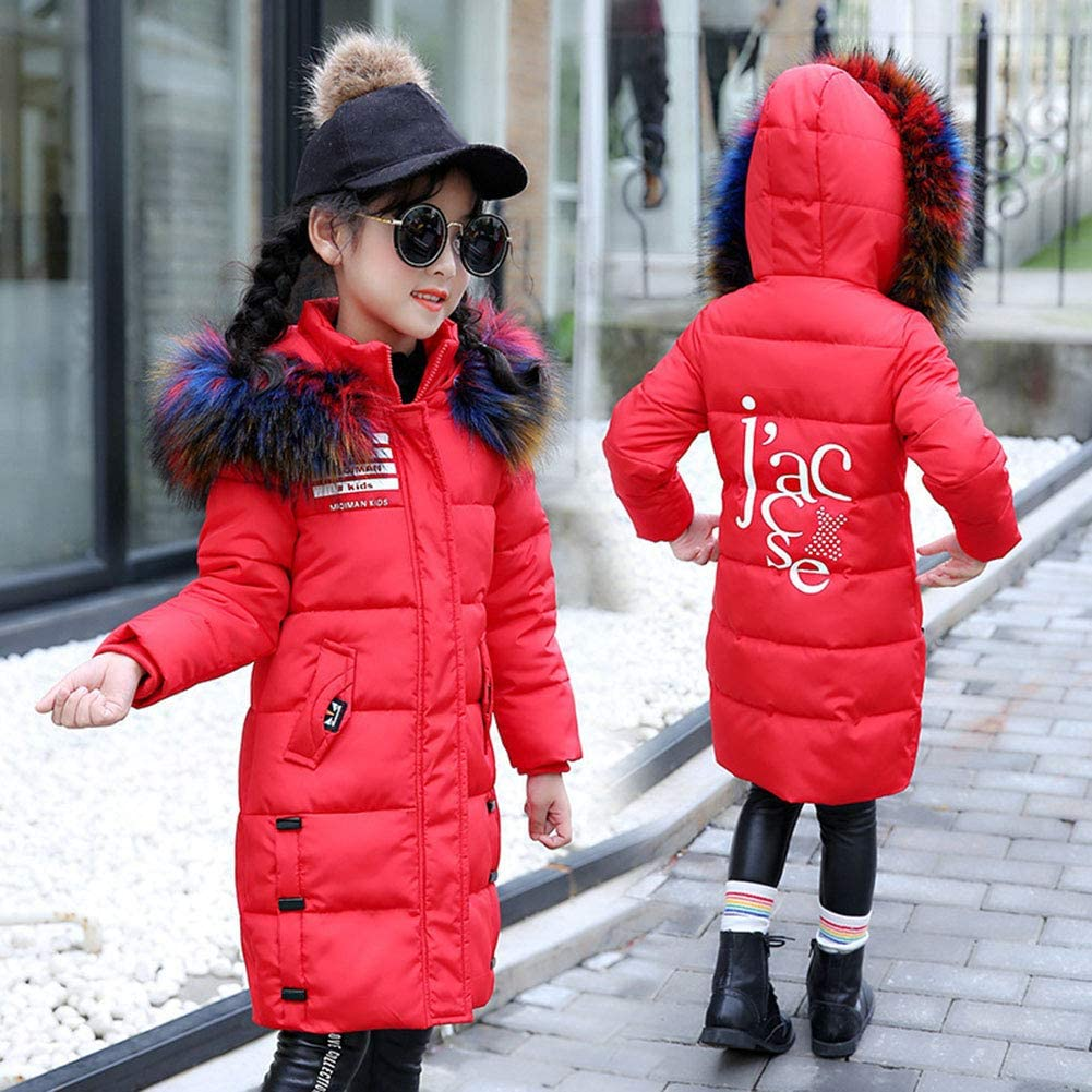 LPATTERN Kids Girls Winter Down Jacket Puffer Coat Warm Padded Jacket Printed School Parka Thickened Cotton Coat Casual Quilted Coat Snow Jacket with Hood