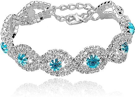 Long Way Women's Silver/Gold Plated Crystal Bracelets 6.7