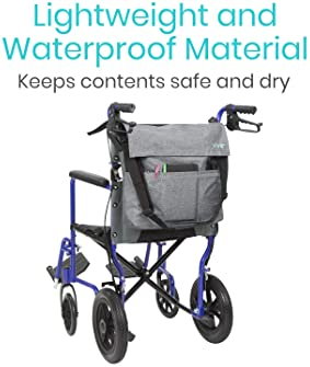 Vive Wheelchair Bag - Wheel Chair Storage Tote Accessory for Carrying Loose Items and Accessories - Travel Messenger ...