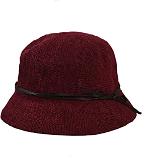 SUPERCB Women's Vintage Wool Felt Cloche Bucket Bowler Hat Winter Crushable Bowknot Wine Red