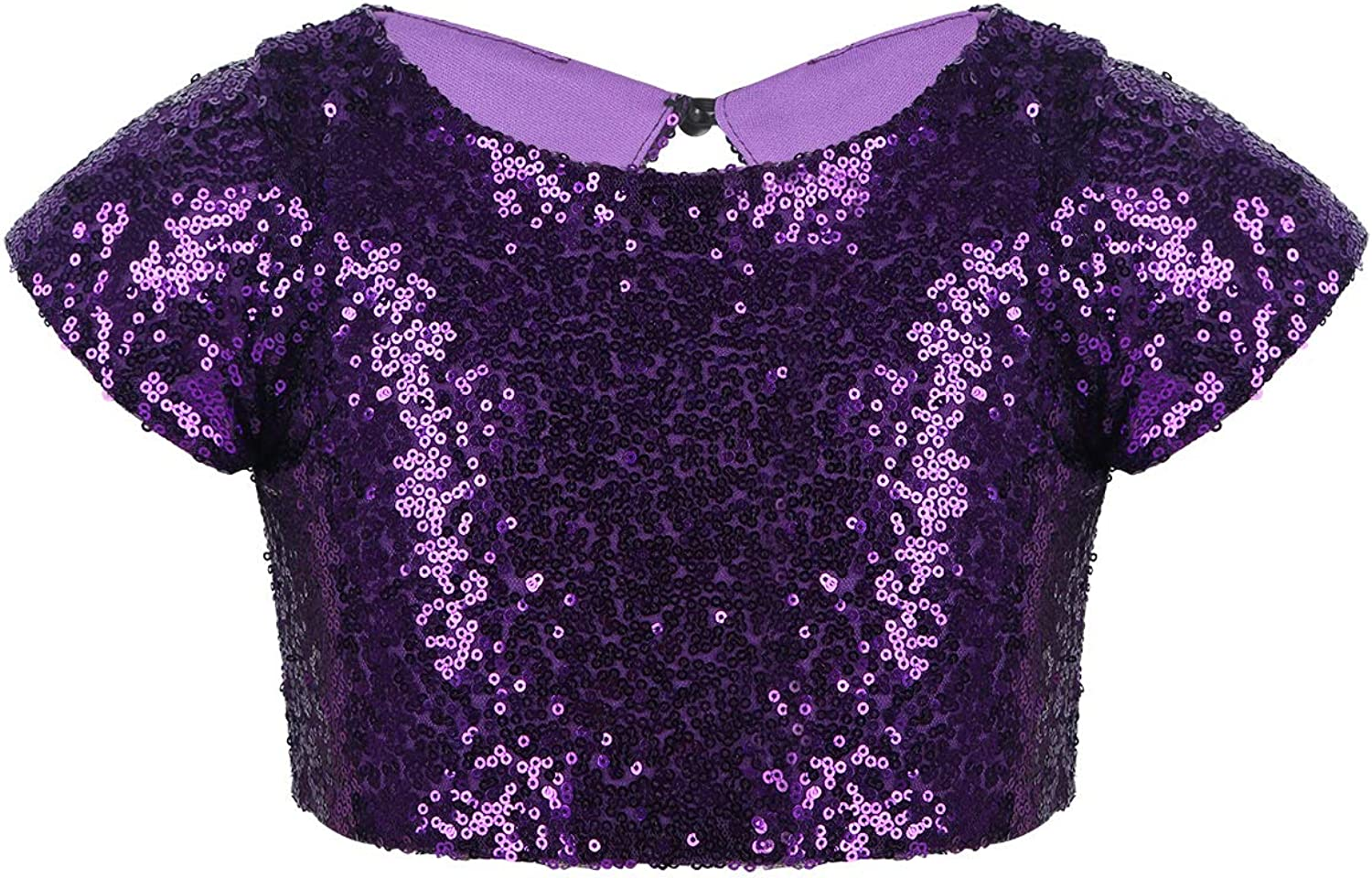 TiaoBug Kids Girls Sparkly Sequined Tan Glitter Sleeves Tops Cap 35% OFF trend rank