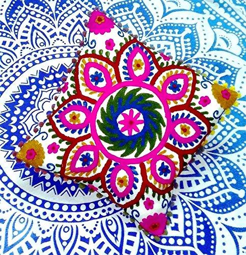 Traditional Jaipur Suzani Bestickt Kissenbezug, indisches Outdoor Kissen, dekorativer Überwurf-Kissenbezug, POM POM Kissenbezug 16x 16, Boho kissenrollen
