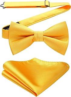 HISDERN Men's Pre-tied Bow Ties Solid Colour Classic Tux Bowtie Adjustable Two Layer Bow Tie & Handkerchief Set
