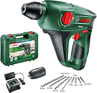 Bosch Home and Garden 060398400D Uneo DIY Cordless Hammer, Battery, Charger, Round Shaft Adapter, 2 SDS Quick, 2 hex Shan...