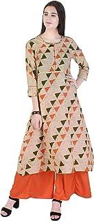 Twin Feet Rayon Printed Round Neck A-Line 3/4 Sleeve Kurti With Palazzo Set