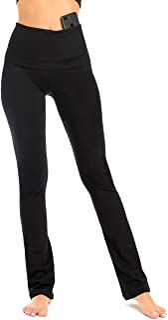 DEAR SPARKLE Bootcut Fold Over Leggings for Women   Slim Look Bootleg Yoga Pants w Pocket + Plus Size (C5 F)