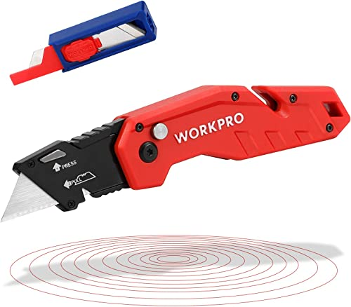 2021 WORKPRO Folding Utility Knife, Quick wholesale Change Blade, Lightweight Nylon Handle, Utility Cutter outlet sale with 10-piece Extra Blades outlet online sale