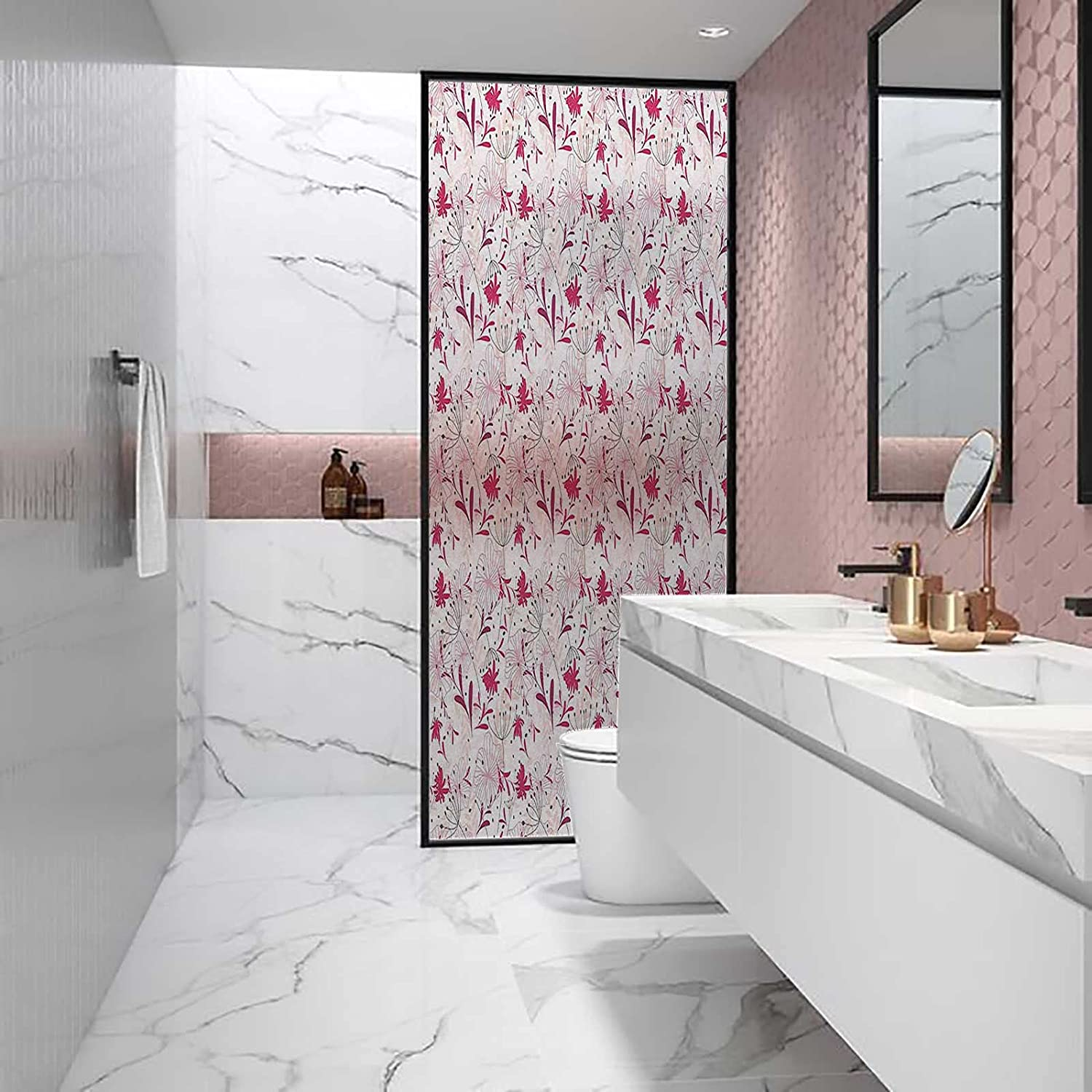 Window Decorative Reflective Film Abstract Anti UV Max 73% OFF Pink Florets Max 57% OFF