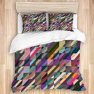 Juego de funda nórdica de 3 piezas, fondo de rayas de colores geométricos abstractos, juegos de fundas de edredón de microfibra de lujo para dormitorio, colcha con cremallera con 2 fundas de almohada