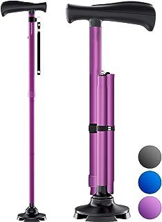 HoneyBull Walking Cane for Men & Women | Free Standing, Foldable, Pivot Tip [Purple]