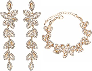 mecresh Earring and Bracelets Bridal Jewelry Sets Silver Champagne Gold Crystal Leaf-Shape Women