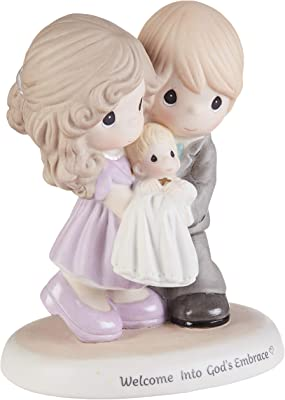 Precious Moments 193002 Welcome Into God's Embrace Bisque Porcelain Figurine, One Size, Multicolor