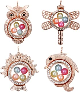 4pcs Mixed Rose Gold Owl Dolphin Tree of Life Living Memory Floating Locket Charms Glass Pearl Cage Pendants - for Pearl Shows DIY Jewelry Making Fun Gifts (Style-5)