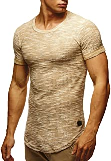 Leif Nelson Men's T-Shirt Crew Neck | Short-Armed Oversized Shirt | Basic Casual Shirt for Men | Comfortable Shirt Beige