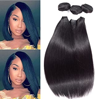 3 Bundles of Brazilian Hair Straight 100% Brazilian Virgin Hair Bundle Deals 12inch Human Hair Weave Natural Black 8A Unprocessed Remy Hair Extensions By Peenoll