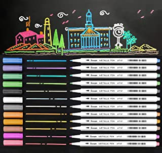 Metallic Marker Pens, 12 Assorted Color Sheen Glitter Painting Pen Card Making, Birthday Greeting, DIY Photo Album,Scrap booking,Rock Painting,Mug,Calligraphy,Valentine's Day Cards (Fine Tip(Hard))