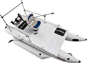 AQUOS Heavy-Duty 2019 New Thermobonding 0.9mm Thickness PVC 12.5' Inflatable Pontoon Boat &Folding Seat&Pedstal & 55LBS Tr...
