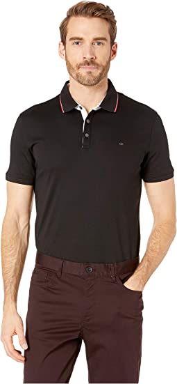 Short Sleeve Solid Tipped Rib Collar Contrast Placket Collar Standard Polo