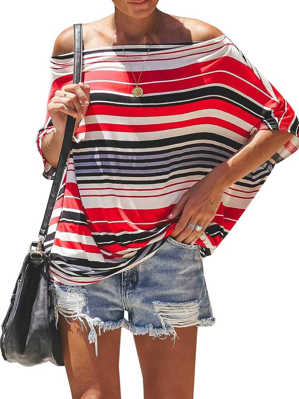 CA Mode Women's Off Shoulder Batwing Tops Short Sleeves Shirt Stripe Blouses