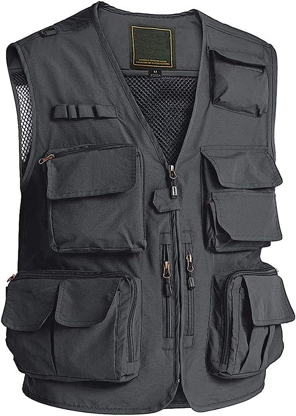 Cargo Vest Men Breathable Travel Vest Photo Journalist Vest with Multi Pockets Outerwear Vest for Men Athletic Vest Work Vest