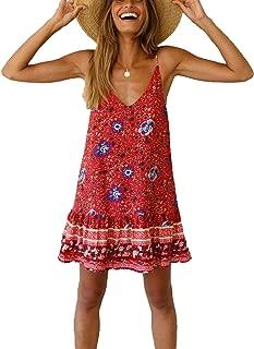 Women's Floral Spaghetti Strap Short Dress Boho V Neck Beachwear Vintage Ruffle Mini Dress Sundress