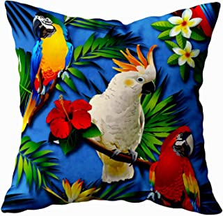 Musesh Halloween Tropical Flowers Parrots Cushions Case Throw Pillow Cover for Sofa Home Decorative Pillowslip Gift Ideas Household Pillowcase Zippered Pillow Covers 16X16Inch
