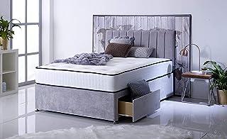 Sommier en daim avec tête de lit à poser au sol avec matelas orthopédique à ressorts à mémoire de forme (lit double de 140...