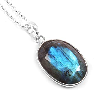 Ratnagarbha Labradorite Necklace, Sterling Silver Chain, Oval Gemstone Pendant, Bridesmaid Necklace, Toggle Clasp Necklace...