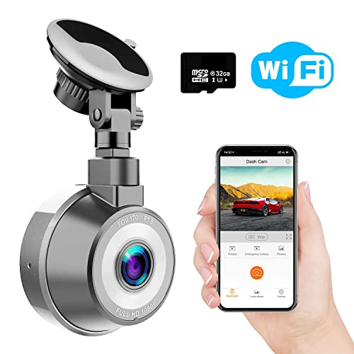 WiMiUS Dash Cam WiFi, 1080p Full HD Dash Camera for Cars, Magnetic Car Camera with Loop Recording, G-Senor, WDR, Night Vision, Motion Detection, Parking Monitor, SD Card Included