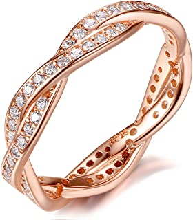 925 Sterling Silver Rose Gold-Plated Engagement Wedding Rings with Cubic Zirconia,Promise Rings for her