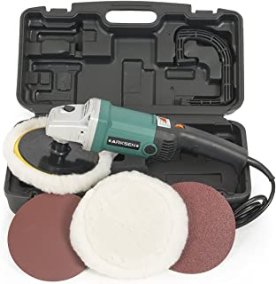 "ARKSEN 7"" Electric Polisher Buffer Waxer Sander Detailers Variable Speed, 6 Speed, w/Carrying Case"