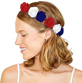 xo, Fetti Fourth of July Decorations Flower Headband Crown | Memorial Day, Independence Day, Red White and Blue Party Supplies, 4th of July, USA Flag, Labor Day