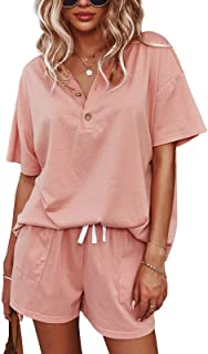 Women's Short Sleeve Sweatsuits: 2 Piece Casual Outfit Sets with Pockets