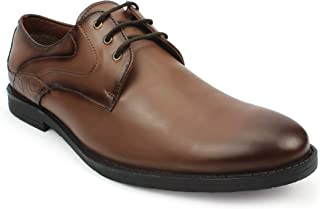 AvantHier Men's Genuine Leather Formal Slip on Office,College Shoes for Men&Boys(Tan)