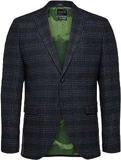 Selected Men's Slhslim-myloiver Blue Check BLZ B Noos Blazer