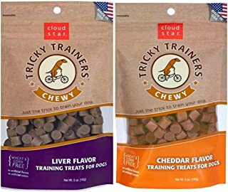 Cloud Star Chewy Tricky Trainers Flavor Variety Dog Treats Bundle: (1) Cloud Star Chewy Tricky Trainers Cheddar Flavor, (1) Cloud Star Chewy Tricky Trainers Liver Flavor, 5oz Bags
