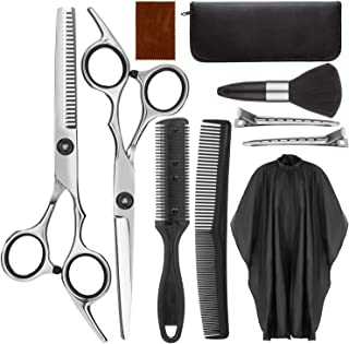 Hair Cutting Scissors Kit - Yasurln 10 PCS Haircut Set with Leather Case for Men Women Kids Pet - Including Thinning Shear...
