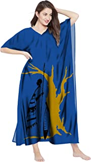 RADANYA Womens Cotton Kaftan Dress African Print Tunic Long Maxi Kimono Caftan