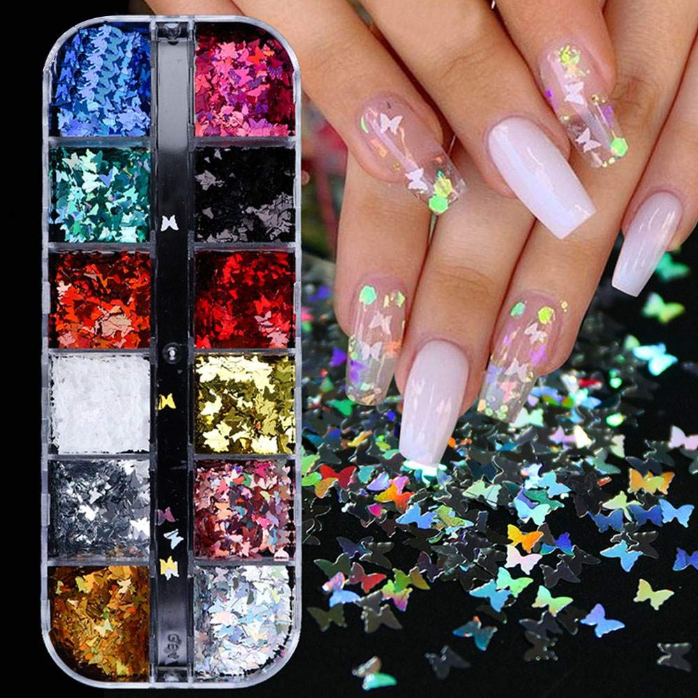 Butterfly Nail Decals Powder Art Regular discount Holographic Ranking TOP12