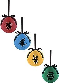 Pack de 4de bolas de Navidad de todas las casas de Harry Potter: Hufflepuff, Gryffindor, Ravenclaw y Slytherin, de Divasworld.