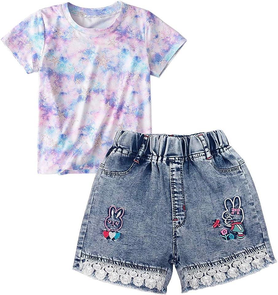 4-9Years Little&Big Girls Summer Short Sleeve T-Shirt Top+Denim Shorts with Belt 2pcs Clothes Set(Purple,5-6T)