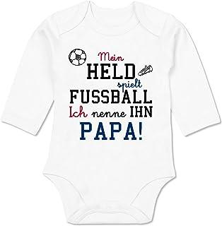 Shirtracer - Sprüche Baby - Mein Held spielt Fußball - Baby Body Langarm