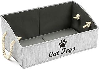 Geyecete Grandes boîtes de Rangement pour Chat Jouets-Boîte de Rangement en Tissu avec poignée en Corde de Coton,Panier Pl...