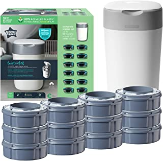 Tommee Tippee Twist and Click Sangenic Tec Starter Set with 12 Refill Cassettes, Odour-Proof Nappy Disposal System, Guaranteed Protection Against Germs, White